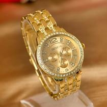 Relógio Dourado Feminino De Luxo A Pronta Entrega.