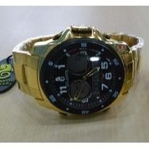 Relógio Original Atlantis Ana Digi G3216 Aço Dourado E Preto