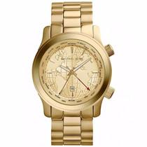 Relógio Michael Kors Mk5960 Dourado Mapa Gmt Original Em 12x