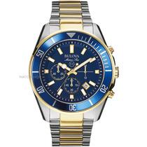 Relógio Bulova Marinestar 98b230 Orig Chron Anal Ouro Prta!!