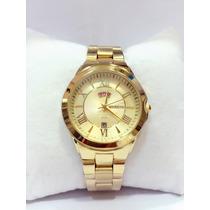 Relógio Feminino Original Atlantis Dourado Dois Calendário