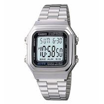 Relogio Casio A178aço Alarme Cronometro Luz Data Dualtime