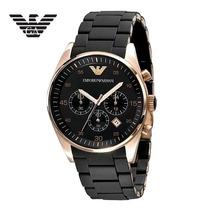 Relógio Original Ar5905 Emporio Armani Preto Rosé