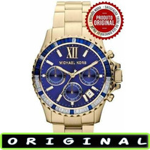 Relógio Michael Kors Mk5754 Gold Azul 42mm Oversized Novo !