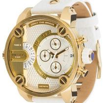 Relógio Diesel Dz 7273 Ouro Gold Branco Completo + Envio