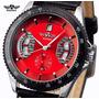 Relógio Winner Automático Esqueleto Mostrador Vermelho