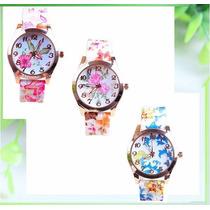 Relógio Analógico Florido Pulseira Em Silicone Kit C/ 3 Unds