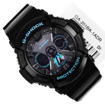 G-shock Ga201 Original Relogio Masculino Luxo Preto Com Azul