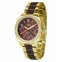 Relógio Feminino Dourado E Marrom Dumont - Sp68168r