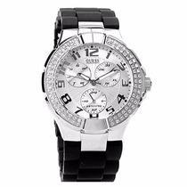 Relógio Guess G10582l Com Cristais E Pulseira Preta