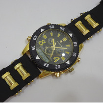 Relógio Dourado Dual Time Potenzia Digital Analógico Luxo