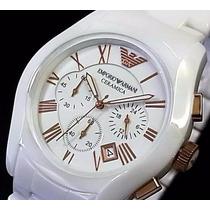 Relógio Empório Armani Ar1416 Ceramica Branco Completo