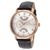 Lucien Piccard Verona Dual Time Black Leather Silver-tone