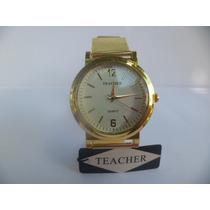 Relógio Lindo Glamuroso Feminino Dourado Teacher Leilão1,00