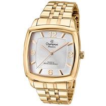 Relógio Feminino Quadrado Champion Ch28740h Dourado E Prata