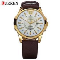 Relógio Curren Masc. Dourado Pulseira Em Couro - No Brasil