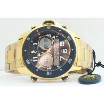 Relógio Atlantis Analogo Digital G3216 Aço Dourado E Preto