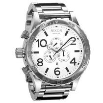 Relógio Nixon 51-30 Chrono Prata Fun. Branco Original Novo !