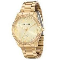 Relógio Feminino Dourado Seculus 28516lpsvda1 Original