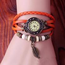 Relógio Importado Feminino Couro Laranja Pingente P/entrega