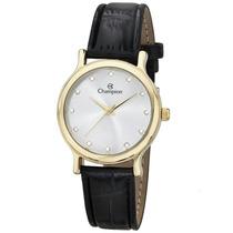 Relógio Champion Feminino Dourado Pulseira De Couro Ch24080m