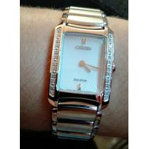 Relógio Citizen Vidro Safira 24 Diamantes Movido A Luz Solar