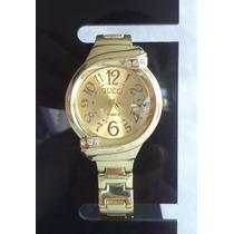 Relógio Feminino Pulseira Dourada C/ Strass.