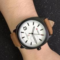Relógio Casual Curren Masculino Pulseira De Couro - White