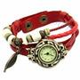 Relógio Feminino Vintage Retrô Pingente Folha Pulseira Couro