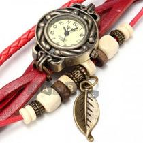 Relógio De Pulso Feminino Pulseira Couro Vintage Pingente