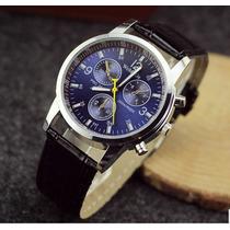 Relógio Luxo De Pulso Masculino Azul Com Pulseira Preta