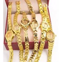 Relógio Analógico Folheado Á Ouro 18k