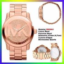 Relógio Michael Kors Mk5661 Ouro Rosê 47mm Oversized Novo !