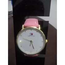 Relógio Feminino Tommy Coroa Dourado Redondo Pulseira Rosa