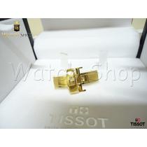 Fivela 18mm Aço Dourada Para Pulseira De Couro Tissot Prc200
