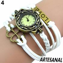 Relógio Bracelete Feminino Pulseira De Couro