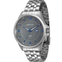 Relógio Seculus Masculino Long Life 28360g0sgna2 Fundo Cinza