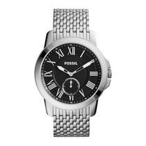 Relógio Masculino Fossil Grant Fs4944/1pn Slim Preto/ Prata