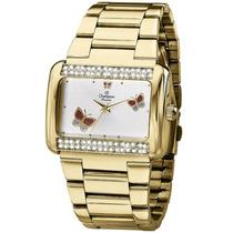 Relógio Feminino Champion Dourado Quadrado Ch24179h Luxo