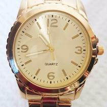 Relógio Feminino E Masculino Dourado
