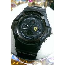 Relógio Masculino G-shock Ferrari Preto Azul Scuderia