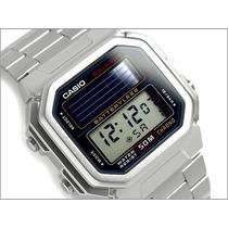 Relógio Casio Solar Al 190 Aço 5 Alarmes Timer 100% Orginal