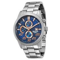 Relógio Masculino Luxo Analogico Marca Seculus Frete Gratis