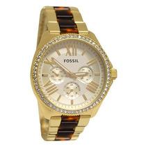 Relógio Feminino Fossil Am4499 Dourado Garantia 2 Anos Br