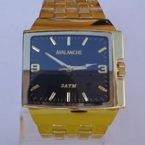 Relógio Masculino Luxo Avalanche Original Aço Inox Dourado