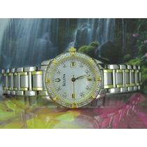 Relógio Bulova 98r107 Original, Dial Madreperola + Diamantes