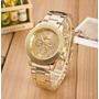 Relógio Luxo Feminino De Pulso Caixa Redonda Dourado Ouro