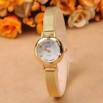 Relógio Feminino Dourado Filed Aço Inox