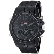 Relogio Us Polo Assn Us9058 Analogico Digital Black Na Caixa