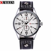 Relógio Quartz Masculino Curren Mod. 8164 Pulseira Em Couro
